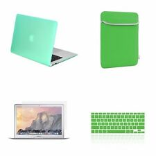 "4 IN 1 Macbook Air 13"" Green Rubberized Hard Case + Keyboard Cover + LCD + Bag"