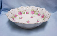 """SERVING BOWL Antique  MZ Austria Scalloped Rim Footed 10"""" D Bowl Small Roses A-2"""