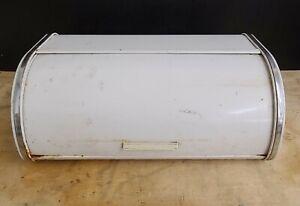 Vintage BRABANTIA White Metal & Chrome Roll Top Bread Box