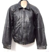 Vintage Black 100% Real Leather BIGL Bomber Biker Men's Jacket Coat Size XL
