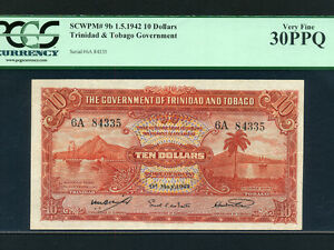 Trinidad & Tobago:P-9b,10$,1942 * WWII Issue * PCGS VF 30 PPQ * RARE *