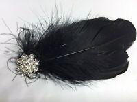 Silver Black Feather Diamante Headpiece  Hair Clip Vintage Wedding