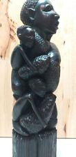"Vintage Detailed African Mokonde Family Tree of Life Ebony Wood Carving 13 3/4"""