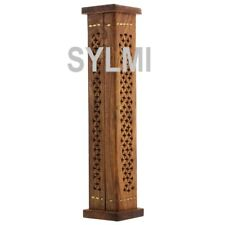 Tall Wooden Tower Incense Burner Stick Cone Holder Stand Ash Catcher Hand Carved
