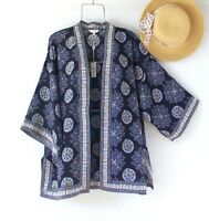 New~$88~Blue Navy Yellow White Kimono Duster Peasant Blouse Boho Top~Medium M