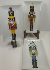 """New listing 3 Crate and Barrel Nutcracker Appetizer 7-7/8"""" Plates 2015 Christmas Decoration"""