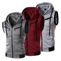 Mens Sleeveless Zip Up Gillet Hoodie Hooded Sweatshirt Hoody Top Gym Vest Tank