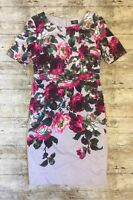 Gorgeous OASIS Hummingbird Floral Dress Wiggle Pencil Empire Line ~Size 10 ~