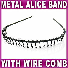 Black METAL HEADBAND wire football sports gym toothed alice hair head band