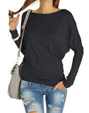 Damen Top Bluse Shirt Lockere Fledermaus Ärmel Schwarz, Weiß Gr. 36,S 38,M t67p