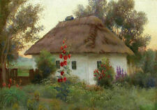 Peaceful Cottage Garden Landscape Painting Flowers Quality Canvas Print