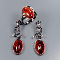 Amber Ring Silver 925 Sterling SET Vintage18x11mm Size 8.5 /R129331