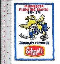Beer Hockey WHA Minnesota Fighting Saints & Schmidt Beer 1975 - 76 Promo Patch