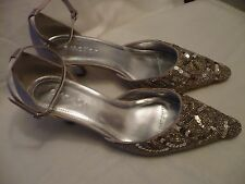 EMOTION WIDE FIT SILVER SATIN BEADED ANKLE STRAP SHOES sz5 BNEW BRIDAL / WEDDING