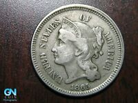 1865 3 Cent Nickel Piece    BETTER GRADE!  NICE TYPE COIN!  #B6580