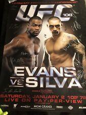 UFC 108 Evans Vs Silva Signed SBC Poster MMA UFC Pride FC