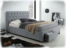 Kiefer Grey Fabric Upholstered KING Size Bed with 4 Storage Drawers - BRAND NEW