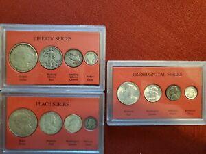 PEACE SERIES, LIBERTY SERIES,PRESIDENTIAL SERIES, 4-Coins each Series, See pic.