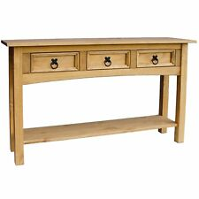 Corona Mexican Solid Pine 3 Drawer Console Table with Shelf  Offers Bargains
