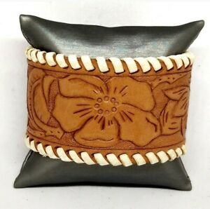 Repurposed By Lesley Leather Belt Cuff Bracelet With Hand Tooled Flowers