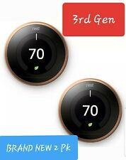 Nest Smart Learning Thermostat 3rd Generation Gen Copper WiFi T3021US 2 PACK
