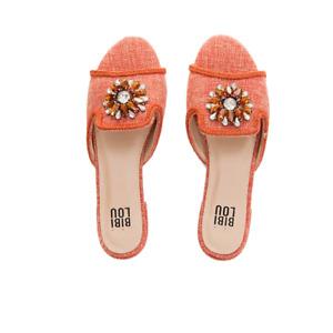 Bibi Lou Coral Orange Slides Sandals