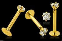 Labret Monroe 14K Carat Genuine Gold 2mm Square Claw Set Gem Tragus Lip 16g 8mm