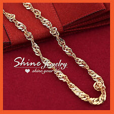 9K GOLD FILLED SOLID LADIES GIRLS TWIST WAVE SINGAPORE CHAIN 60CM LONG NECKLACE