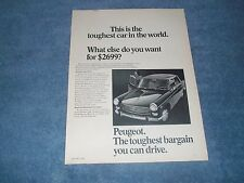 "1968 Peugeot 404 Vintage Ad ""This is the Toughest Car in the World."""
