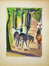 LE CHEVAL LITHOGRAPHIE POCHOIR ORIGINAL UZELAC 1932 JOIES DU SPORT EQUITATION 10