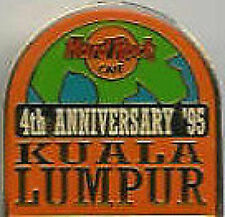 Hard Rock Cafe KUALA LUMPUR 1995 4th Anniversary PIN - Half Globe Orange  #4324