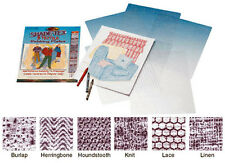 RUBBING PLATES # 8160  Set of 6 TEXTILE  PATTERNS For Paper or Clay~ Shade-Tex
