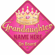 Grandaughter Car Sign Like Baby/Child On Board Pink/Gol