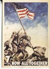 POST CARD WORLD WAR II POSTER 7TH WAR LOAN NOW ALL TOGETHER MARINES AT IWO JIMA