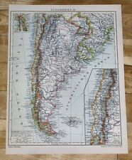 1929 ORIGINAL VINTAGE MAP OF ARGENTINA CHILE BUENOS AIRES FALKLANDS
