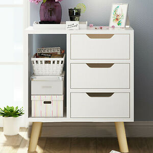 White Bedside Table Drawer Cabinet Bedroom Furniture Storage Nightstand Shelf