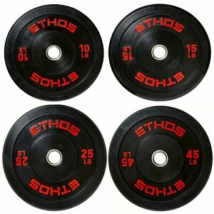 """ETHOS Olympic Rubber Bumper Plate 2"""" Hole 10 25 45 lb Pound Sold Individually"""