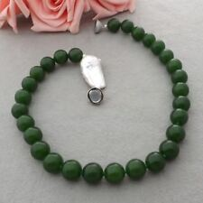 White Keshi Pearl  16MM Green Jade  Necklace-18K GP magnet Clasp