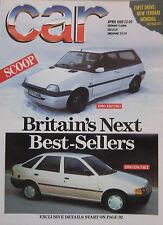 CAR 04/1989 featuring Ferrari Mondial, Ford Fiesta, Renault, Citroen, Vauxhall