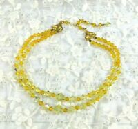 Vintage Graduated Faceted Citrine Yellow Amber Glass Bead Necklace Two Strands