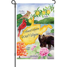 "Almost Heaven West Virginia Cardinal Bear Apple Flower Garden Flag 18"" x 12"""