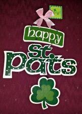 "St. Patrick's Day 18"" ""Happy St. Pat'S"" Sign Irish Plaque Shamrocks New"