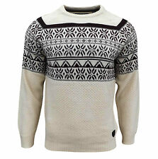 Soul Star Men's Venzy Nordic Knitted Jumper Top Sand