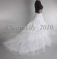 WHITE LONG TRAILING WEDDING PETTICOAT UNDERSKIRT SLIP SKIRT CRINOLINE SKIRT
