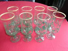 Hand Painted Glasses x 8 = Green/Gold Rim