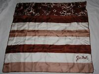 "Vintage Jaleh Square Scarf 28"" Brown Tan Cream Striped Floral Silk Japan"