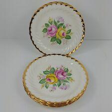 Set of 4 Quban Royal China Salad Plates Pink Yellow Roses Floral 22k Gold