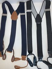2 NEW• Pair of Suspender Black Polka Dot & Solid Blue•Leather Braces