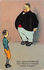 POSTCARD  COMIC  Fatman  Fulness   Dinner