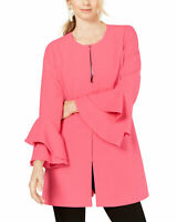 Alfani Womens Zip Front Flared-Sleeve Collarless Jacket Medium Galleria Pink
